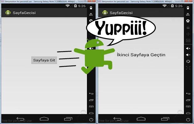Android Sayfalar Arası Geçiş