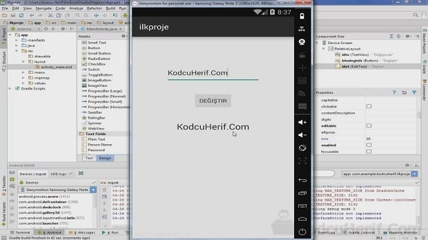 Android Studio Buton, EditText ve TextView