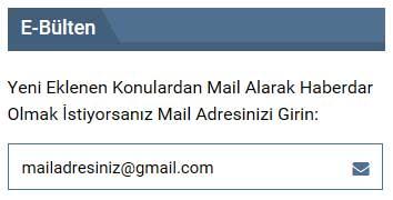 Mail Adresinizi Girin