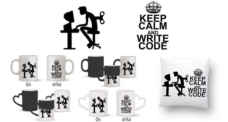 Keep Calm And Write Code Kupa Bardak ve Kırlent